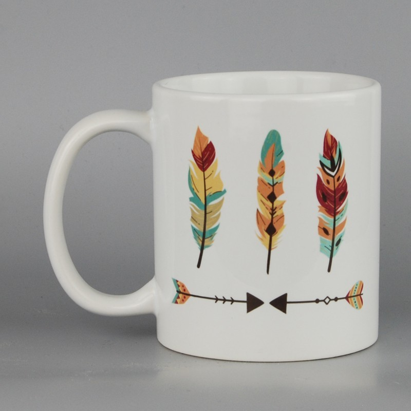 mug céramique 11 oz imprimé plumes
