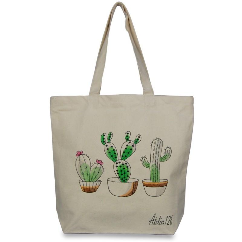 sac coton fairtrade avec broderie cactus