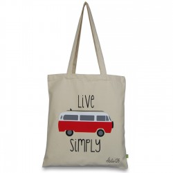 tote bag coton organic imprimé live simply
