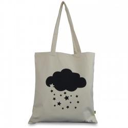 Tote bag coton organic impression nuage et pluie étoiles