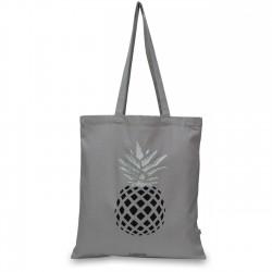 Totebag gris coton biologique imprimé ananas noir argent