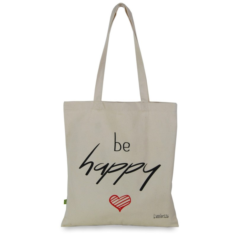 Totebag coton bio imprimé be happy couleurs noir rouge