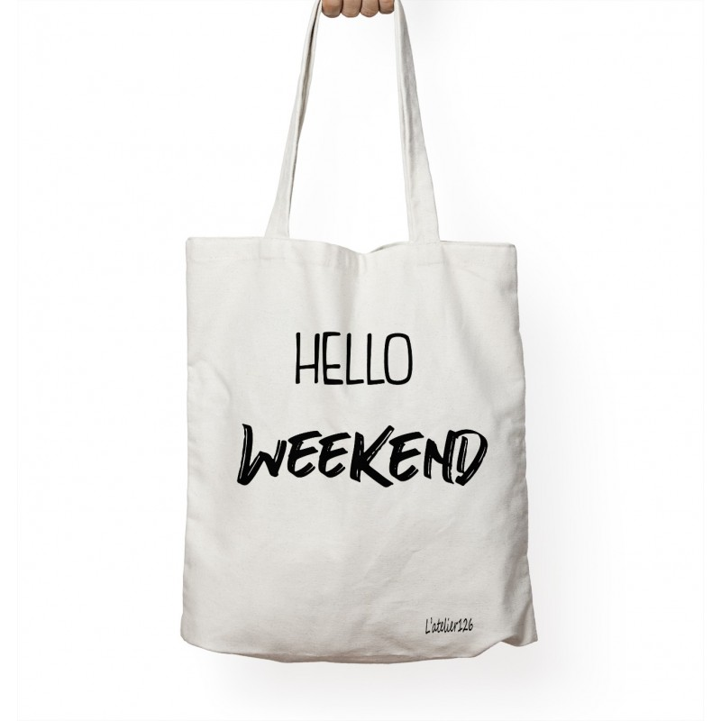 Totebag coton bio imprimé hello week-end