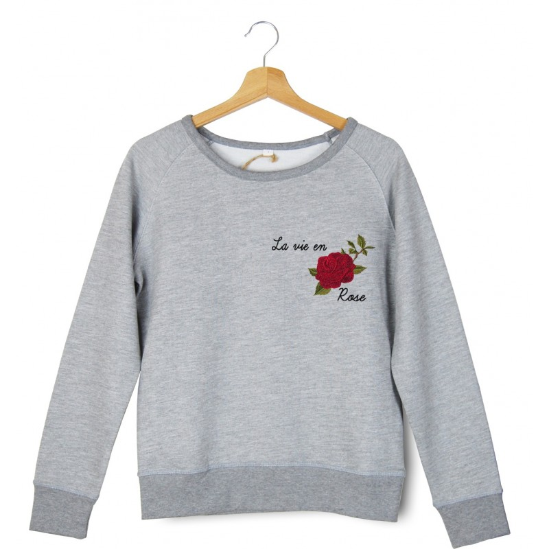 Sweatshirt brodé le vie en rose