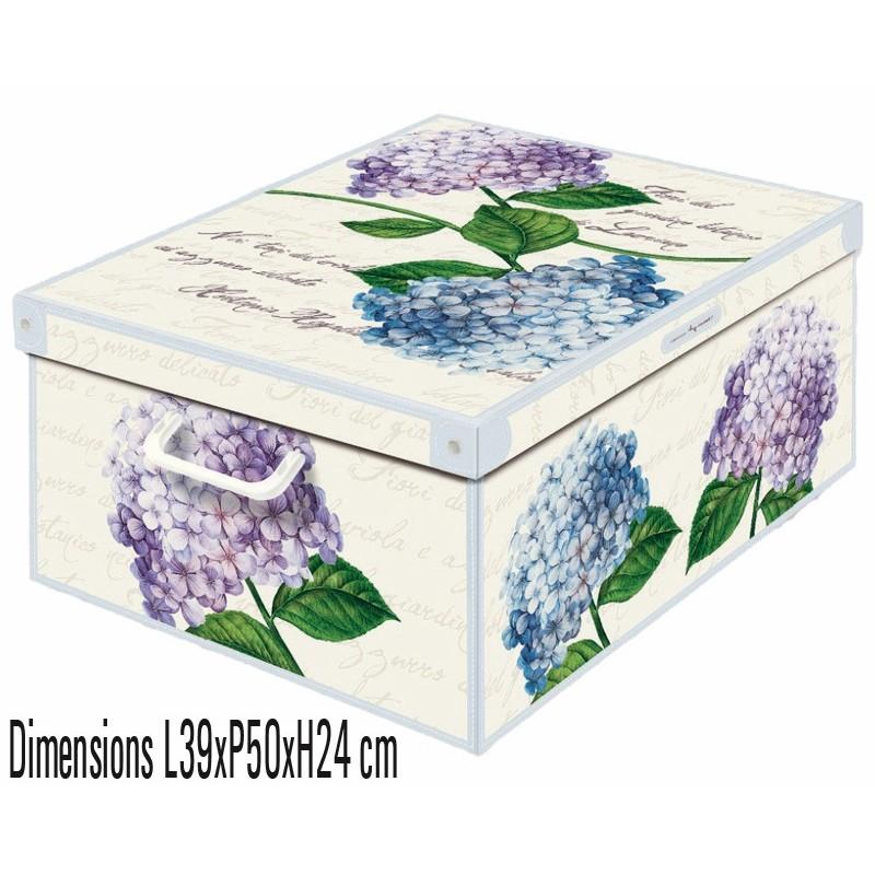 Boite de rangement carton décorative décor ortensie, encres sans solvant