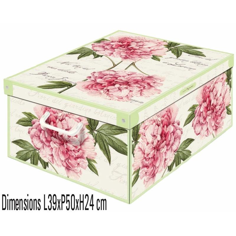 boite de rangement carton décorative décor floral peonie