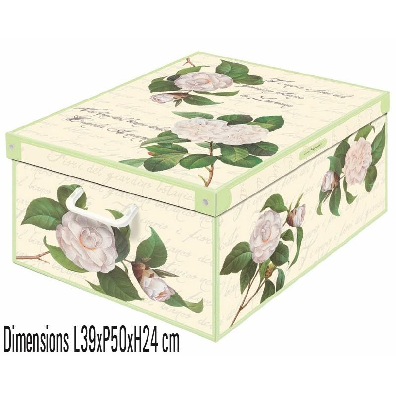 Boite de rangement décorative décor floral camélie