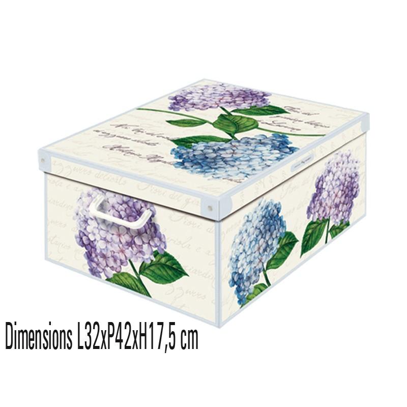 Boite de rangement décorative en carton décor ortensie