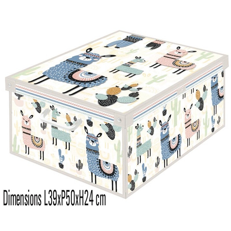 Boite Decorative Carton Recycle Avec Couvercle Renforce Decor Lama