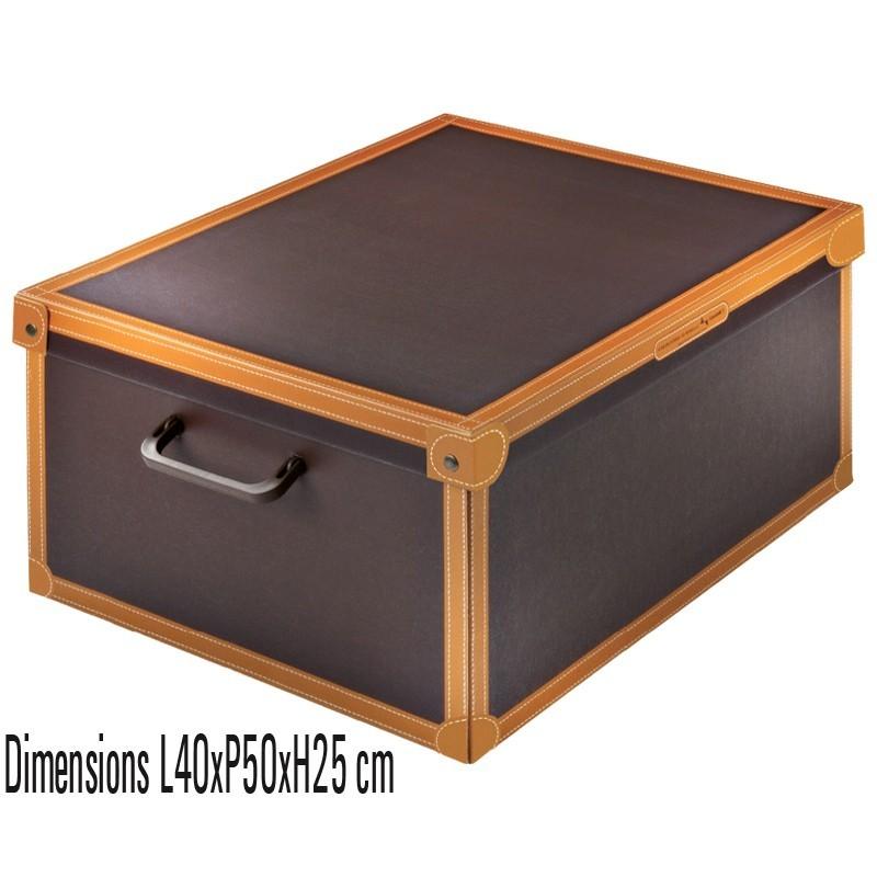 boite rangement décorative carton avec couvercle, décor cuir