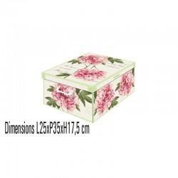 boite de rangement carton décorative décor pivoines