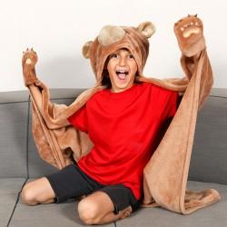 Cape chaude enfant en Microfibre polyester avec une cagoule et des gants en forme de patte d'our