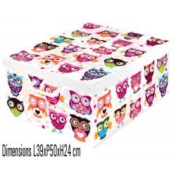 boite de rangement carton recyclé décorative Lavatelli 660 décor chouettes
