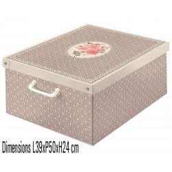 LAVATELLI, boite de rangement carton recyclé décorative pliable décor pois