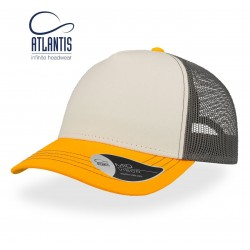 Casquette Trucker Atlantis rapper canvas white-yellow-grey