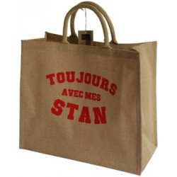 Sac shopper jute imprimé rouge