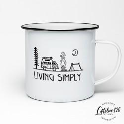 Tasse camping métal emaillé imprimée Living Simply