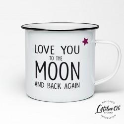 Tasse métal émaillé love to the moon and back