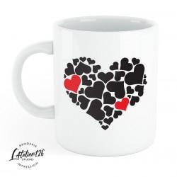 mug céramique imprimé coeur noir rouge