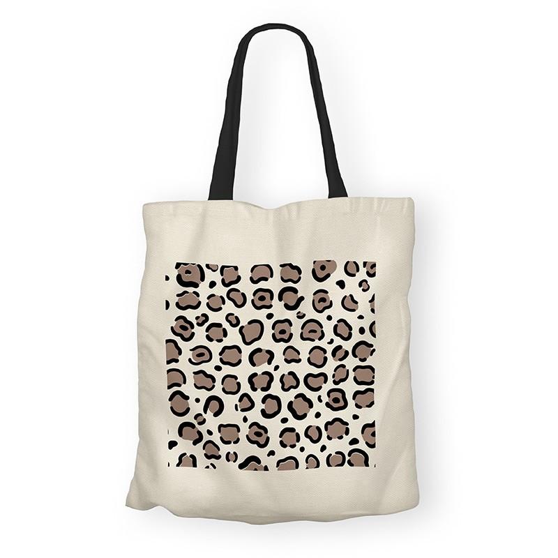 Totebag coton organic imprimé motif léopard