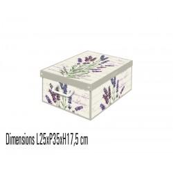 Boite de rangement carton parfumé, format Small décor lavande
