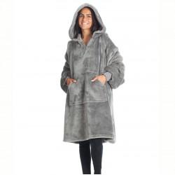 Sweat pull a capuche Kanguru en polyester gris