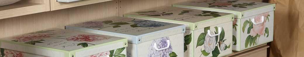Boites de rangement pliables, carton décor floral