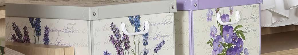 Boites de rangement carton parfumées décor floral