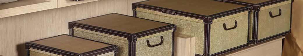 Boîtes de rangement carton recyclé avec couvercle décors classic