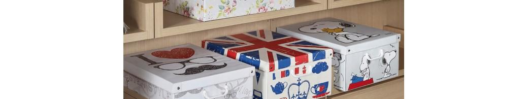 Boîtes de rangement décoratives en carton recyclé avec couvercle